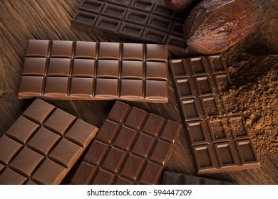 Chocolate sweet, cocoa pod and food dessert background