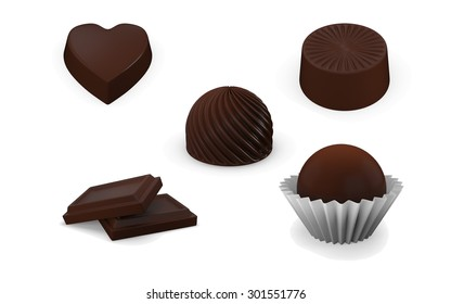 Chocolate sweets collection isolated on white background