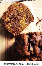 Chocolate Swirled Loaf on Chopping Wood Block