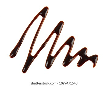 Chocolate syrup drop isolated on white background. Top view