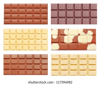 chocolate tablets isolated on white
