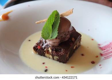 Chocolate tart and ice cream