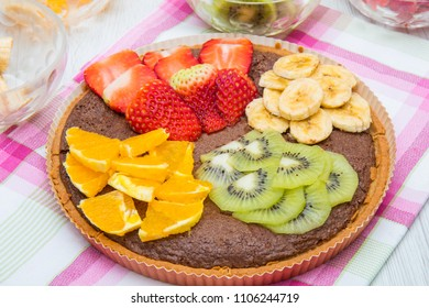 chocolate tarte with mixed fresh fruit