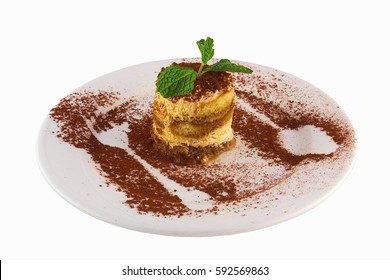 Chocolate tiramisu cake isolated on white background