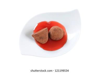 Chocolate truffles coated in cocoa powder