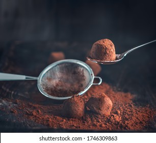 Chocolate truffles. Homemade fresh truffle dark chocolate candies with cocoa powder made by chocolatier. Gourmet food, delicious dessert. Closeup