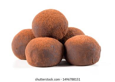 Chocolate truffles isolated on white background.