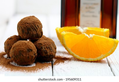 Chocolate truffles with orange and  triple sec