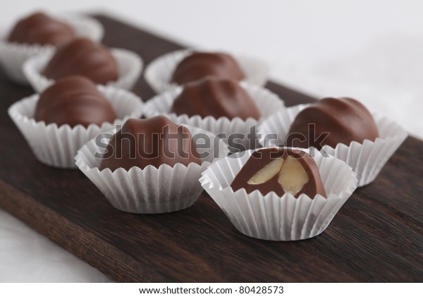 Chocolate truffles in wrapper