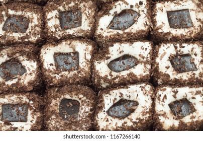 chocolate turkish delight  background closeup