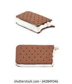 Chocolate vanilla ice cream sandwich with a bite taken off it, composition isolated over the white background, set of two different foreshortenings