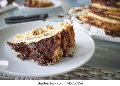 Chocolate and Vanilla layer cake with chocolate shavings on top - Shallow Depth of Field