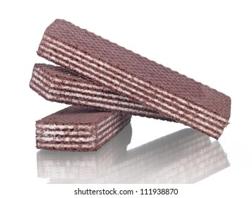 Chocolate wafer on white background
