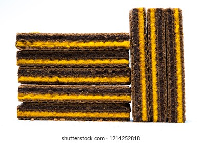 Chocolate wafers dessert isolated on white background