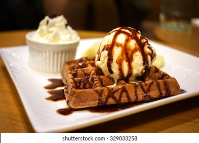 Chocolate Waffle topped with ice cream