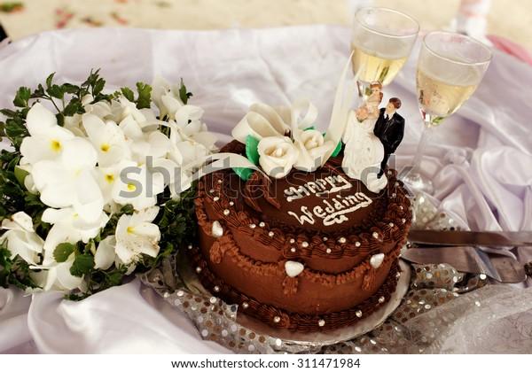 Chocolate Wedding Cake Tropical Bungalow Hawaiian Stock Photo