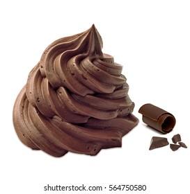 Chocolate whipped cream ice cream on cone