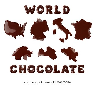 Chocolate of the world. Conceptual outline of USA,Italy,Germany, France,Switzerland,Belgium and Latvia made of chocolate.