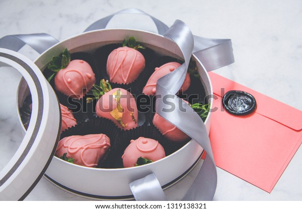 Chocolatecovered Strawberries Gift Box Transparent Lid Stock Photo Edit Now 1319138321