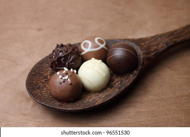 chocolates on a spoon