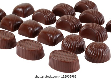 chocolates on a white background