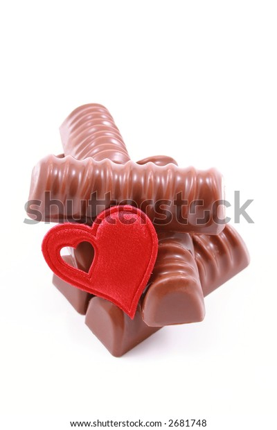 chocolates with red heart - gift - isolated on white