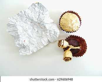 Chocolates and roses made with chocolate wrapper