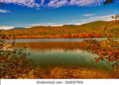 Chocorua Lake, Woodhouse Preserve in foliage season, New Hampshire.