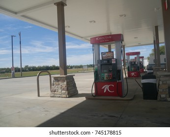 CHOCTAW NATION, OKLAHOMA—SEPTEMBER 2017:  Fuel pumps at a gasoline station at the Choctaw Nation in Oklahoma.