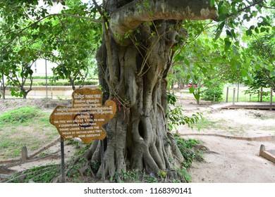 CHOEUNG EK KILLING FIELD, PHNOM PENH, CAMBODIA - JUN 25TH, 2018: The Magic Tree, inside the Choeung Ek Killing Field of Phnom Penh, Cambodia, on Jun 25th, 2018