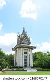 CHOEUNG EK KILLING FIELD, PHNOM PENH, CAMBODIA - JUN 25TH, 2018: Memorial to the victims of Pol Pots dictatorship in Choeung Ek Killing Field, Cambodia, on Jun 25th, 2018