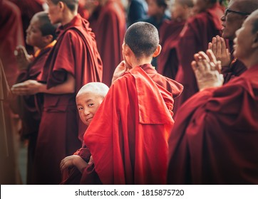 Choglamsar, India - AUGUST 19: Monks and Nuns at Dalai Lama 14th Sermon on AUGUST 19, 2016 in Choglamsar, Leh region, Jammu & Kashmir, India.