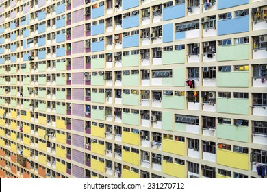 CHOI HUNG ESTATE, HONG KONG - SEP 13. Side view of Choi Hung Estate on Sep 13, 2014 in Choi Hung, Hong Kong. It is one of the oldest public housing estates. The name of the estate means rainbow.