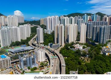 Choi Hung, Hong Kong 03 September 2019: Aerial view of Hong Kong city