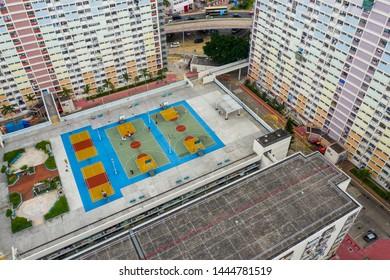 Choi Hung, Hong Kong 17 May 2019: Top view of famous public estate in Hong Kong, Choi Hung estate