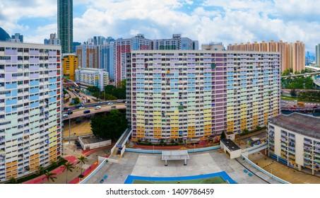 Choi Hung, Hong Kong 20 May 2019: Top view of Hong Kong residential district, choi hung estate