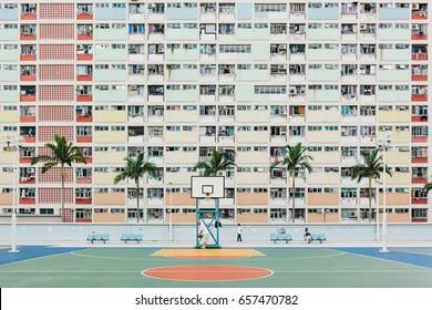 CHOI HUNG, KOWKOON, HONG KONG - CIRCA APRIL, 2017: Colorful Basketball Court in Hong Kong. Popular Place to take a Photos.