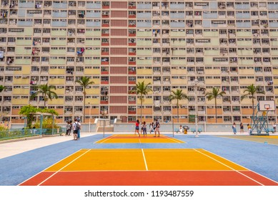Choi Hung,Hong Kong - May 5, 2018 : View of Choi Hung Estate. It is located in Wong Tai Sin district of Kowloon,Hong Kong.
