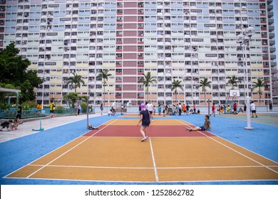 Choi Hung,Hong Kong - September 2018 : View of Choi Hung Estate with Colorful rainbow design. Colorful Basketball Court in Choi Hung oldest public housing estates in Hong Kong