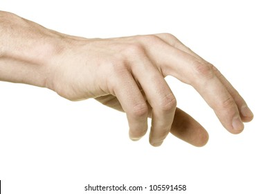 The choice. Adult male hand reaching to pick up something with chess player grip, shot form little finger side, isolated on white background.