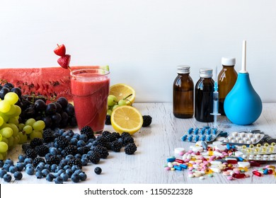 The choice between a healthy lifestyle and medications berries or pills.