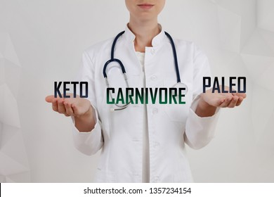 Choice between Keto, Paleo and Carnivore diet. Healthy lifestyle concept