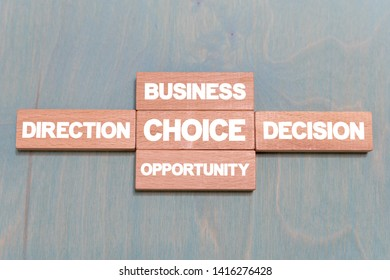 Choice dilemma direction decision opportunity business concept on a wooden blocks backgound. Problem Solving.