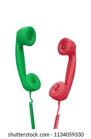 Choice To Reject Or Accept An Incoming Call. Green and red handsets of old-fashioned wire telephones suspended in air isolated on white background. 3D rendering graphics.