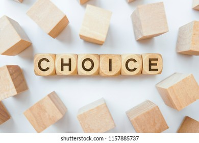Choice word on wooden cubes