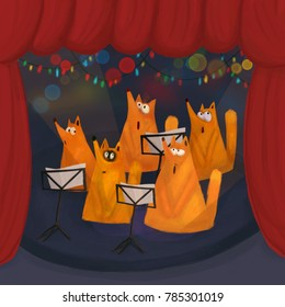 A choir of singing foxes on a stage. Raster illustration.
