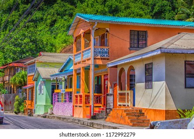 CHOISEL, ST LUCIA,WEST INDIESW-13th SEPTEMBER 2017:-A colourful fishing village on the west coast of St Lucia