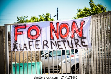 CHOISY LE ROI - FRANCE - 29 MAY 2020 : social movement at  renault factory of choisy le roi after a plant closure announcement linked to a social plan