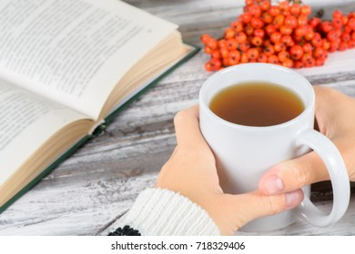 Chokeberry mug in hand on a wooden background in autumn still life