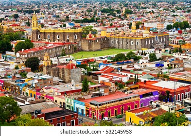 Cholula, Mexico - November 10, 2016: Aerial view of downtown and of Convent of San Gabriel in Cholula, Puebla